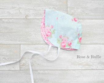 Pink and Aqua Reversible Cotton Baby Bonnet, Modern Bonnet, Sun Hat. Size Newborn 0-3 Months. READY to SHIP, Rose and Ruffle
