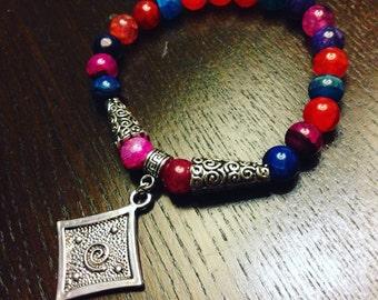 Colorful Dragon's Vein Agate Spiral Stackable Boho Stretch Bracelet