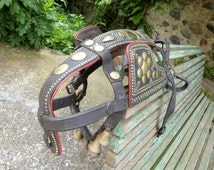French Antique horse leather strap bells tack equestrian horse decor, bullfighting tauromachy horse equipment, equestrian ranch farm decor