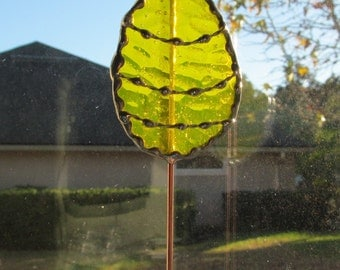 Stained Glass Easter Egg Garden Stake/Garden Marker in Yellow English Muffle Glass - Medium Egg Plant Stake -  Decorative Soldering Accents