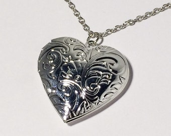 Heart Locket Necklace Women's Necklace Gift Silver Photo Locket Valentine Gift Anniversary Mom Girlfriend Sister Women's Gift