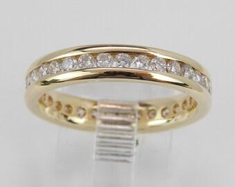 Diamond Eternity Wedding Ring Anniversary Band 14K Yellow Gold Size 6.75