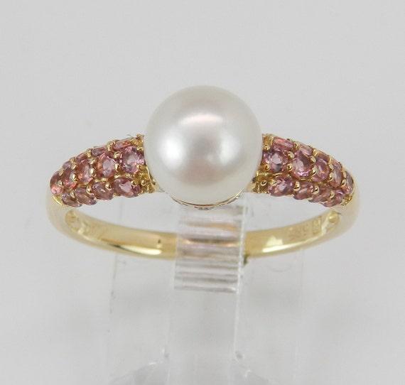 Pearl Diamond Pink Tourmaline Engagement Promise Ring 14K Yellow Gold Size 8