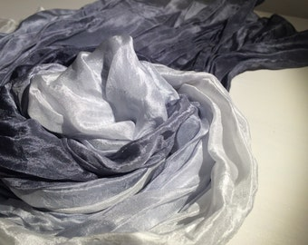 charcoal a silver ruffled silk scarf