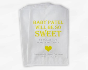 Baby Is Sweet Candy Buffet Treat Bags - Personalized Baby Shower Favor Bags in Yellow - 25 Custom Paper Bags (0148)