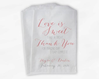 Love Is Sweet Our Day Complete Wedding Candy Buffet Treat Bags - Handwritten Favor Bags in Rose and Gray - Custom Paper Bags (0169)