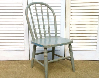Vintage Oak Child's Painted Bentwood Chair