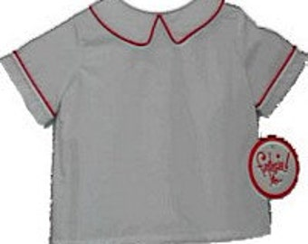 Boy White Peter Pan Collar Shirt- red piping