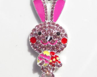 47mm Pink and Red Bunny Rhinestone and Enamel Pendant, P65