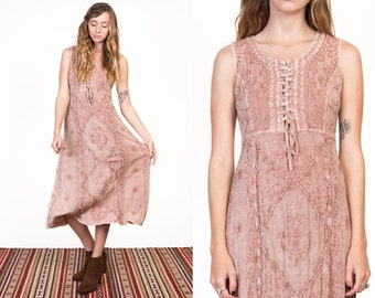 Vintage 90's Indian Embroidered Dusty Rose Bohemian Maxi Dress