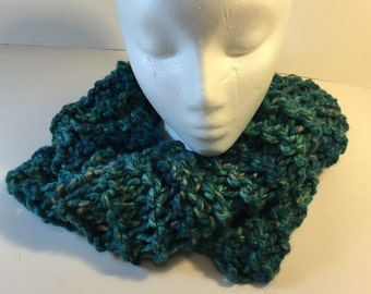 Outlander-style cowl in greens and blues