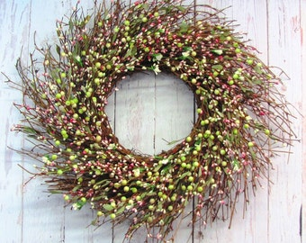 Celebrations - Spring Wreath - Pink Green & White Berry Wreath - Wedding Wreath - Summer Berry Wreath - Shabby Chic - Pip Berry Wreath