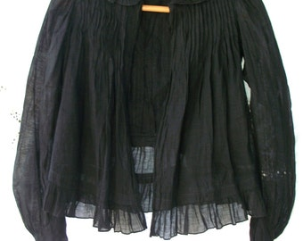 Delicate Cotton ~ Antique Victorian Blouse ~ Black ~ Pin Tucks / Pleats ~ Open Front ~ XS / S ~ Mourning ~ Exquisitely Made Piece