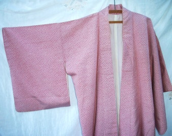Little Flowers  2 tone ~ Vintage Kimono ~ Japanese ~ Long Length ~Kimon ~ Feminine ~ Sweet Cottage Chic