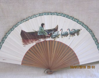 Delicate Rice Paper Fan Post WWII Japan, Excellent Condition, Handpainted Fan, Rice Paper Crafts