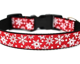 """Christmas Dog Collar 1"""" Snowflake Dog Collar SIZE SMALL Ready to Ship Dog Collar"""
