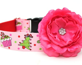 Dog Collar Flower Add-on Hot Pink Dog Collar Flower