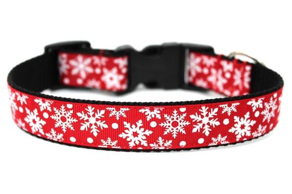 "Christmas Dog Collar 1"" Snowflake Dog Collar SIZE MEDIUM"