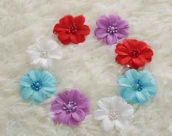 "60pcs 5.5cm 2.16"" wide blue/voilet/ivory/white/red bridal wedding dress hair appliques patches L30K88 free ship"