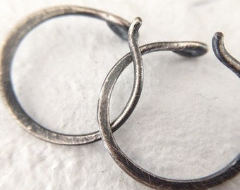Small Sterling Silver Hoop Earrings - 18g Rustic Minimalist Everyday Unisex Jewelry for Men or Women - Sold in Pairs or Singles