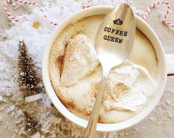 Coffee Spoon: Coffee queen. Gift for Mom, Gift for friend. Stamped Spoon. Coffee Lover, Coffee Gift, coffee stocking stuffer