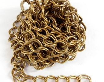 Vintage Chain, Jewelry Chain, Double Link Curb Chain, Brass Ox Chain,  Antique Brass, Jewelry Making, B'sue Boutiques, 8 + Feet, Item08201