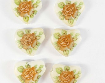 Vintage German Beads, German Decal Beads, Porcelain Beads, Rose Decals, Vintage Jewellery Supplies, B'sue Boutiques, 24 x 25mm,Item08232