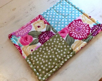 Quilted Trivet Rectangle Vibrant Floral Motif Pink Blue Yellow Green Hostess Gift Teacher Gift PollyAnna  Hot Plate Gift Basket Spring Decor
