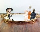 LARGE Mirror Vanity Tray with Gold Tassel Bows