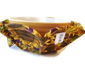 Microwave Bowl Cozy - Microwave Bowl Cozy Pot Holder - Soup Bowl - Fabric Bowl Cozy - Sunflower Print Purple Background