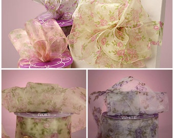 1 1/2 inch wide Timeless Floral Sheer Ribbon price for 1 yard