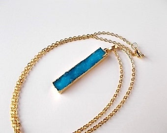 Turquoise Druzy Bar Necklace, Gift for Her, Unique Pendant, Genuine Drusy Jewelry, Gold Bohemian Necklace