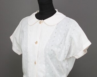 1950s Blouse // Lightest Pink White Eyelet Cotton Blouse
