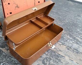 Vintage Tool Box in Brown Metal Toolbox
