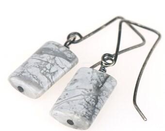 White & Gray Silver Earrings | Rectangular Howlite Gemstone Oxidized Sterling Silver Handmade Earrings