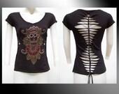 SALE!! MEDIUM - Juniors / Womens Shredded Cut up V-neck Top  Calavera Inspired Day of the Dead, Skull inspired