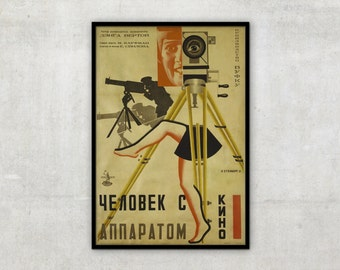 Vintage constructivism poster - for movie Man with the movie camera -  by Stenberg brothers, P087