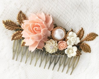 Pink Bridal Hair Comb Coral Wedding Hair Slide Blush Peach Romantic Headpiece Bridesmaid Hair Comb Maid of Honor Gift Pastel Pink Hair Pin