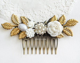 Gold Wedding Hair Accessory White Pearl Hair Slide Pearl Comb for Bridesmaid Bridal Headpiece Vintage Style Elegant Bride