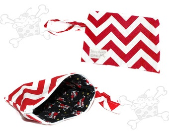 Red and White Chevron Clutch