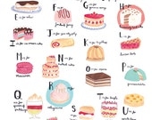 Alphabet of Cake A4 Art Print