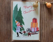 Boy with Sledge - Illustrated Christmas Card
