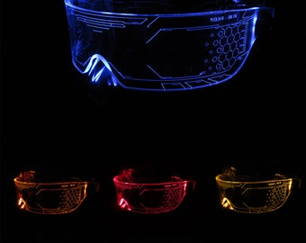 The original Illuminated Cyber goth visor WARCHIEF  Clear **choose your LED colour**