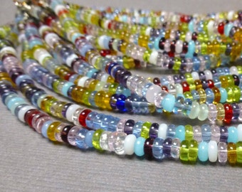 Smooth Glass Rondelle Beads. Multi Color. Clear Glass Beads. Finished Choker. 1.5mm x 4mm. Approx. 16 Inch. One (1).