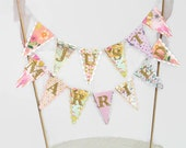 Just Married Cake Topper - Wedding Cake Bunting - Floral Tea Party - Gold, Mint, Peach, Pink, Blush, Lilac