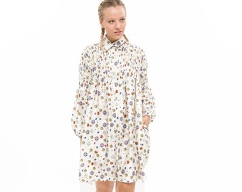 Beige print shirt dress, Oversized Fashion Dress for Winter, Long Sleeve Loose and  Relxed Fit Boho Dress