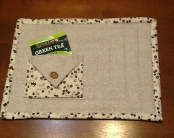 Mug Rug with pocket for tea bag or sugar packet