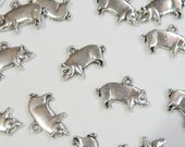 10 Pig Hog charms Chinese Zodiac Year of the Pig FFA antique silver 13x20mm P20363