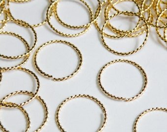 25 Fancy Twisted round open jump rings gold plated brass 15mm 18 gauge A7032FN