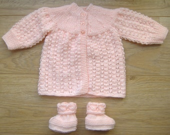 HALF PRICE - Handknitted Peach Baby coat & bootees - Newborn size